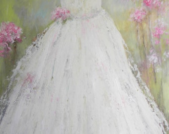LARGE OIL PAINTING, Vintage in White Dress Painting, Surreal Impasto Dress Painting, Girls Room, Powder Room