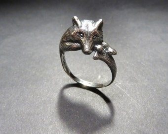Grey Wolf Ring - Animal Ring - Totem Ring - Silver Sculpted Wolf Jewelry - Animal Ring - Dog Ring - Pagan Ring