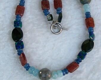 Gemstone Beaded Necklace, Beaded Necklace, Gemstone Necklace, Moonstone Necklace, Azurite Malachite Necklace, Kyanite Necklace