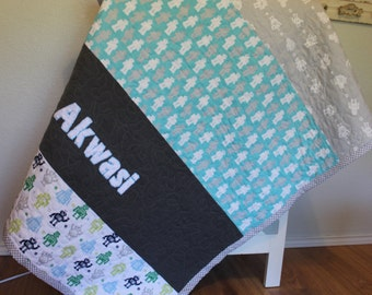 Custom Crib Quilt Appliqued with Name