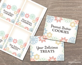 Editable Food Tent Cards, Vintage Snowflake Place Cards // Snowflake Tent Cards // Holiday Party Printable // Editable Food Labels