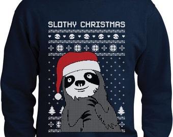 Slothy Xmas - Ugly Christmas Sweater Men's Crewneck Sweatshirt