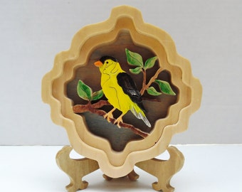 Goldfinch wooden scrollsawed self-framing picture birds yellow bird handmade handpainted