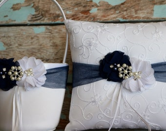 Your Color , Flower Girl Basket and Ring Bearer Pillow Set , Navy Blue Ring Bearer Pillow , Flower Girl Basket , Wedding Pillow