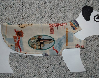 "Lightweight Summer Dog Jacket, xx-small (5-7 lb) Retro Route 66 Roadtrip. All cotton & reversible 13"" girth"