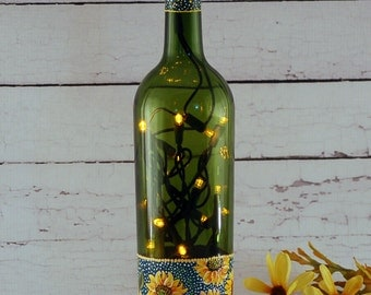 Hand painted sunflower wine bottle lamp with yellow lights