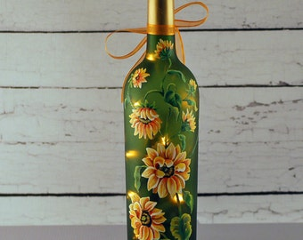 Sunflower wine bottle lamp, hand painted, green and yellow