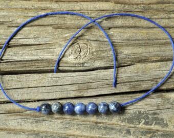 Sodalite Bracelet, Wish Bracelet, Chakra Bracelet, Third Eye Chakra, Hemp Bracelet, Crystal Healing, Meditation Bracelet, Yoga Bracelet