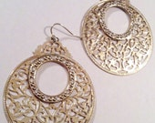 Vintage Statement Gold Tone and Rhinestone Filigree Hoop Earrings