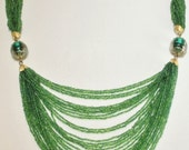 Boho Multi Strand Christmas Green Seed Bead Necklace Choker