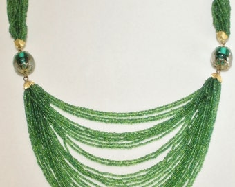 Boho Multi Strand Green Seed Bead Necklace Choker