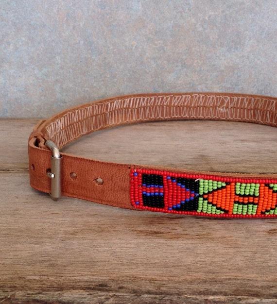 Vintage Native American Hand Beaded Belt Vintage Leather