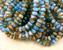Czech Beads, 5x3mm Rondelle, Czech Glass Beads - Light Blue, White and Brown Picasso Rondelle (R5/RJ-1670) - Qty 30