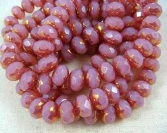 Czech Beads, 8x6mm Rondelle, Czech Glass Beads - Pink Rose Opalite, Fuchsia (R8/N-0594) - Qty 12
