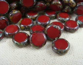Czech Beads, Czech Glass Beads, 11mm Coin - Brick Red Picasso  (COIN/RJ-0585) - 11mm - Qty. 10