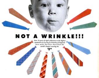1953 Wembley Ties Advertisement Poster Print Ad Retro Little Boy Baby Face Atomic Starburst Nursery Typography Child's Closet Wall Art Decor