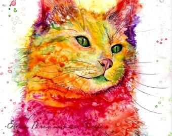 Cat art print: nursery animal art Cat Valentines Day gift idea colorful cat print cat lover art cat lover gift idea cat wall art cat gift