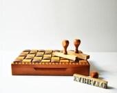 Vintage Handmade Wooden Checkered Case - Box