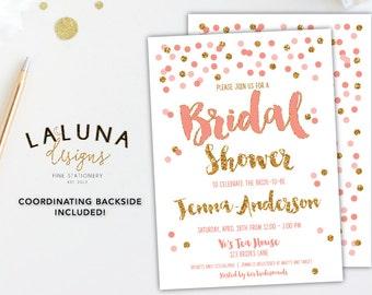 Bridal Shower Invitation, blush and gold bridal shower invitations, Pink and Gold Bridal Shower, Pink Gold Invitation, Printable