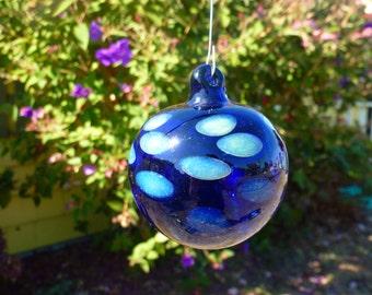 Handblown Cobalt Blue Glass Ornament with Slyme Green Polka Dots