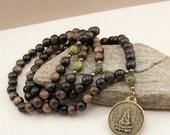 Mala Beads - Quan Yin Pendant - Tiger Ebony & Serpentine - 108 Prayer Beads - Meditation Necklace - Item # 998