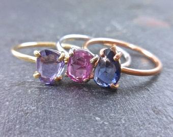 Rose Cut Sapphire Ring - Asymmetrical Sapphire Ring, Sapphire Engagement, Pink, Purple or Blue Sapphires, September Birthstone, 14K Gold