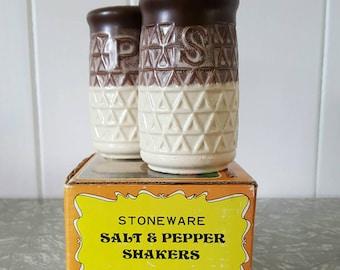 Stoneware Salt & Pepper Shakers 1970's vintage NEW in original box