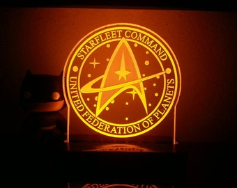 Star Trek Starfleet Command United Federation of Planets Acrylic LED light sign, led display sign, led night light, LED sign, LED lamp