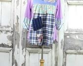 Upcycled Clothing,Wearable Art,Tunic Dress,Junk Gypsy,Plus Size,Boho Chic,Women's Tunic