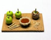 Miniature Caramel Apple Prep Board, Miniature Cutting Board, Ornament, Made to Order