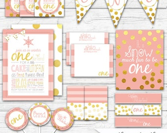 Winter ONEderland Party,  Girl's First Birthday, Winter ONEderland Birthday, Pink and Gold, Girl's 1st Birthday Party Package, Printable