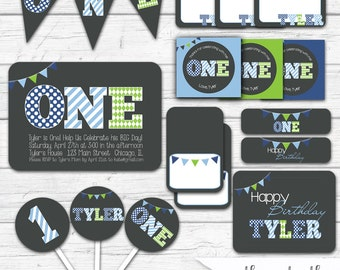 First Birthday Boy, First Birthday Party, First Birthday Party Decorations, First Birthday Party Package, Printable, Blue and Green