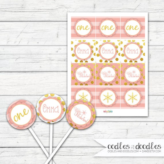 Winter ONEderland Cupcake Toppers First Birthday Cupcake Toppers