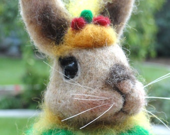 AUTUMN BUNNY - Made to Order - Needle Felted - Halloween - Fall Decor - Fall Colors - Rabbit Lover - Pumpkin