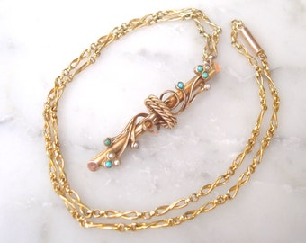 """Antique Gold & Turquoise Necklace- Solid Gold Victorian Etruscan style Pendant Necklace w Turquoise and Seed Pearls on a 17"""" Antique Chain"""