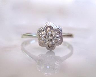 Diamond Solitaire Ring- Art Deco 18K White Gold .40cts Diamond Engagement, Anniversary or Wedding Flower Ring - Size 8 3/4 - easy to re-size