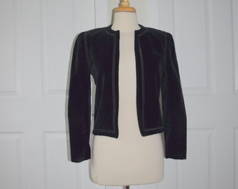 Black Velvet 'I. Magnin' Cropped Jacket - Women's XS