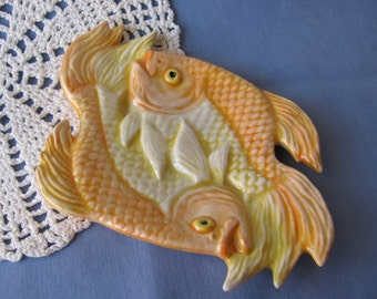 Entwined Fish Ceramic Teabag Holder, Spoon Rest or Trinket Dish Orange Yellow