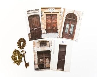 French Postcard Set-Paris Doors in Brown, set of 5