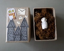 Snowy owl totem Hedwig inspired figure in Harry potter inspired gift box Hedwig charm forest owl charm white owl - Lavender Leaf Designs