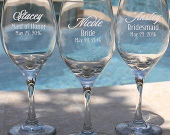 6 Laser Engraved Bridesmaid Wine Glasses, Gift for Bridesmaids, Personalized Wine Glasses