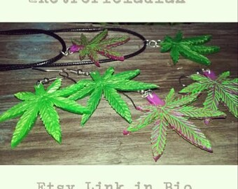 WEED LEAF Earrings or Necklace