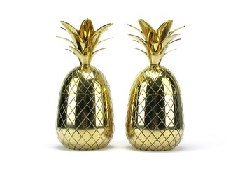"PAIR 11 1/2"" Vintage Style NEW Brass Pineapple Containers Gold Pineapple Ice Bucket Mid Century Bar Cart Accessories Decor Hollywood Regency"
