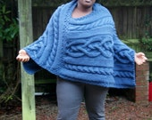 Chunky knit Merino wool Poncho in Navy / Women Poncho/ Knitted Poncho