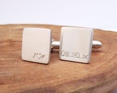 Personalized Cufflinks Solid Sterling Silver - Hand Stamped Engraving