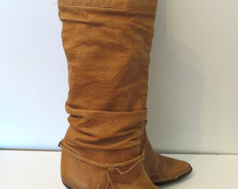 Vintage 1980's Zodiac wooden heeled leather slouchy western cowboy boots 7.5 M