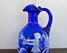 Cobalt Blue Mary Gregory Style Cruet