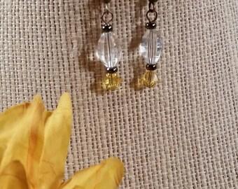 Yellow Topaz Swarovski Crystal Earrings - E-052