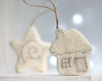 Needle Felt White Christmas Ornaments Set - Little Star, Christmas Tree, Heart, Cat And Cottage- Ornaments For Christmas Tree - White Home
