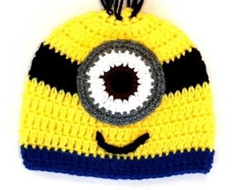 Minion Hat - Crochet Hat - Hats - New Born Crochet Hat - Child Hat - Yellow Hat